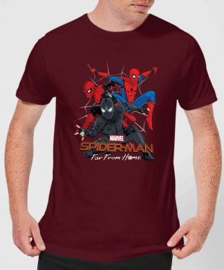 Spider-Man Far From Home Multi Costume Men's T-Shirt - Burgundy - XS - Burgundy chez Casa Décoration