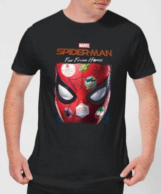 Spider-Man Far From Home Stickers Mask Men's T-Shirt - Black - XS - Noir chez Casa Décoration