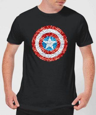 Marvel Captain America Pixelated Shield Men's T-Shirt - Black - XS - Noir chez Casa Décoration