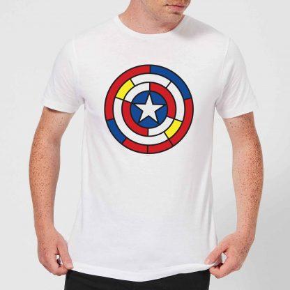 Marvel Captain America Stained Glass Shield Men's T-Shirt - White - XS - Blanc chez Casa Décoration