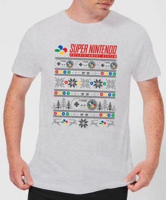 T-Shirt de Noël Homme Nintendo SNES Motifs Festifs - Gris - XS chez Casa Décoration