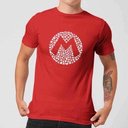 Nintendo Super Mario Mario Items Logo Men's T-Shirt - Red - XS - Rouge chez Casa Décoration