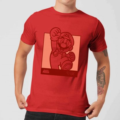 Nintendo Super Mario Mario Kanji Line Art Men's T-Shirt - Red - XS - Rouge chez Casa Décoration