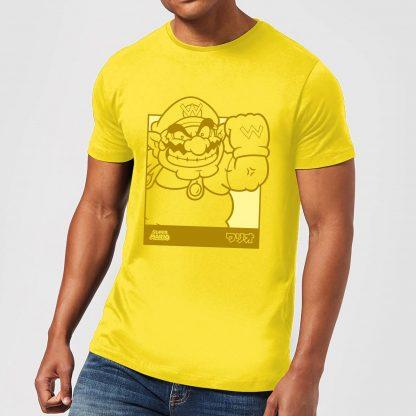 Nintendo Super Mario Wario Kanji Line Art Men's T-Shirt - Yellow - XS - Citron chez Casa Décoration