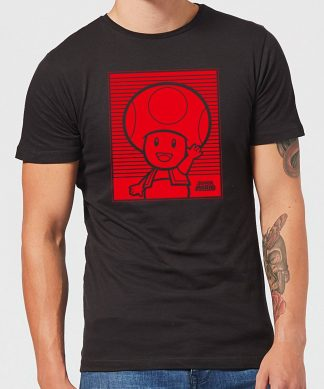 Nintendo Super Mario Toad Retro Line Art Men's T-Shirt - Black - XS chez Casa Décoration