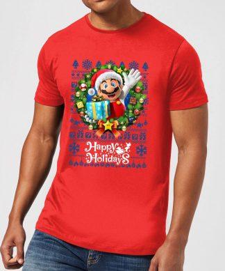 T-Shirt de Noël Homme Nintendo Happy Holidays Mario - Rouge - XS chez Casa Décoration