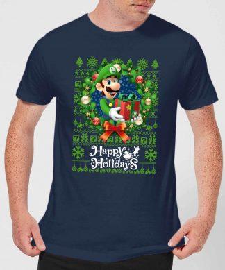 T-Shirt de Noël Homme Nintendo Happy Holidays Luigi - Bleu Marine - XS - Navy chez Casa Décoration