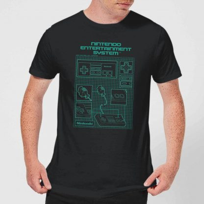 T-Shirt Homme Schéma Manette NES Nintendo - Noir - XS - Noir chez Casa Décoration