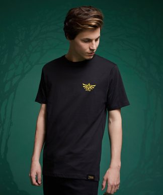T-Shirt Legend Of Zelda Hyrule Crest Brodé - Noir - XS - Noir chez Casa Décoration