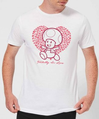 Super Mario Toadally In Love Men's T-Shirt - White - XS - Blanc chez Casa Décoration