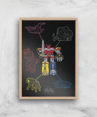 Poster Fine Art Power Rangers Megazord - A4 - Wooden Frame chez Casa Décoration