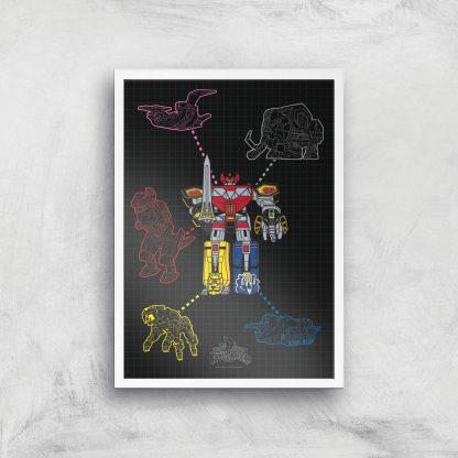 Poster Fine Art Power Rangers Megazord - A4 - White Frame chez Casa Décoration