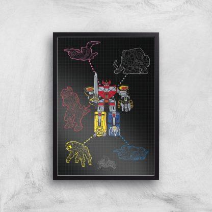 Poster Fine Art Power Rangers Megazord - A4 - Black Frame chez Casa Décoration