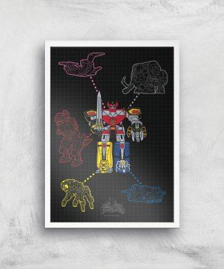 Poster Fine Art Power Rangers Megazord - A2 - White Frame chez Casa Décoration