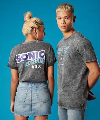 T-shirt Totem Pole Sonic the Hedgehog Noir Acid Wash - Unisexe - XS - Noir chez Casa Décoration
