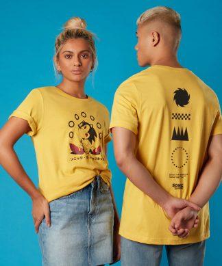 T-shirt Rings Sonic the Hedgehog - Jaune - Unisexe - XS - Citron chez Casa Décoration