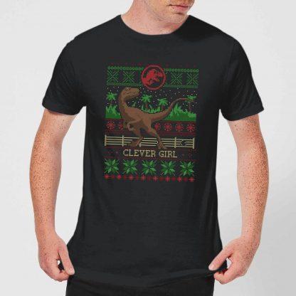 Jurassic Park Clever Girl Men's Christmas T-Shirt - Black - XS - Noir chez Casa Décoration