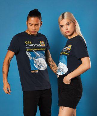 Star Trek - T-shirt USS Enterprise Handbook - Bleu Marine - Unisexe - XS - Navy chez Casa Décoration