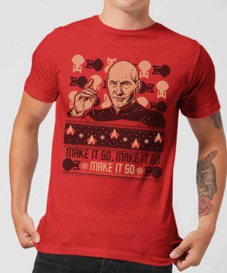 Star Trek: The Next Generation Make It So Men's Christmas T-Shirt - Red - XS - Rouge chez Casa Décoration