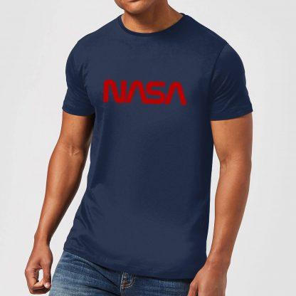 T-Shirt Homme NASA Worm Logotype - Bleu Marine - XS - Navy chez Casa Décoration