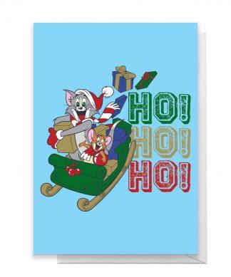 Tom And Jerry Sleigh Ho! Ho! Ho! Greetings Card - Standard Card chez Casa Décoration