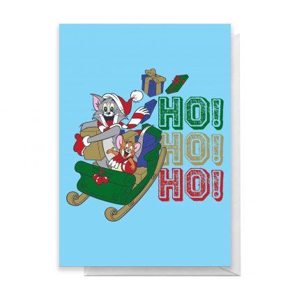 Tom And Jerry Sleigh Ho! Ho! Ho! Greetings Card - Giant Card chez Casa Décoration