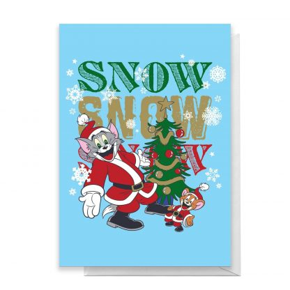 Tom And Jerry Snow Snow Snow Greetings Card - Standard Card chez Casa Décoration