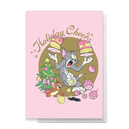 Tom And Jerry Holiday Cheers Greetings Card - Large Card chez Casa Décoration