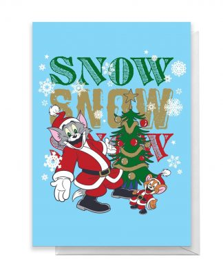 Tom And Jerry Snow Snow Snow Greetings Card - Large Card chez Casa Décoration