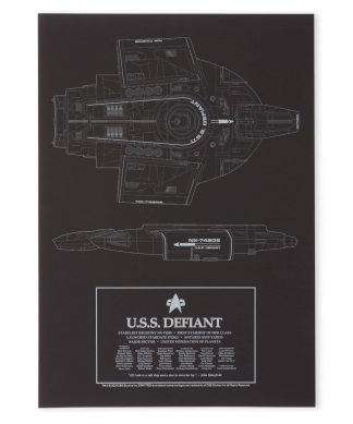 Star Trek Starfleet U.S.S. Defiant Giclee Art Print - A4 - Black Frame chez Casa Décoration