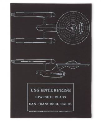 Star Trek Starfleet Original USS Enterprise Giclee Art Print - A4 - Black Frame chez Casa Décoration